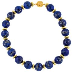 View this item and discover similar for sale at - Necklace of Big round natural beautiful goldy flecked Lapis Lazuli with gold tone accents necklace Size: Length: 17 inches Clasp: gold tone Beaded Jewelry Designs, Bead Jewellery, Necklace Designs, Gold Jewelry, Jewelry Necklaces, Nice Jewelry, Jewelry Ideas, Jewelry Box, Gemstone Necklace