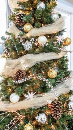rustic glam christmas tree decor on a low budget