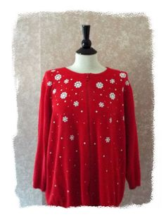 Ugly Christmas Sweater Long Sleeve Beaded Red Plus Size 1X Womens 14 16 #CathyDaniels #Cardigan #ChristmasHoliday