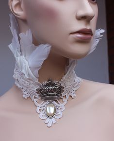 Bridal feather collar by Pinkabsinthe.deviantart.com on @deviantART