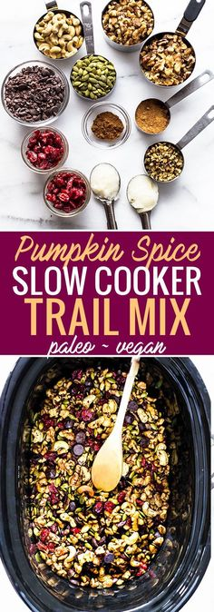 This pumpkin spice trail mix is not only easy to make in the slow cooker but paleo and vegan friendly too! Dark chocolate cocoa nibs cranberries Walnuts pumpkin spice and more! Great as a Holiday gift or for healthy snacking. Fall Crockpot Recipes, Paleo Recipes, Whole Food Recipes, Cooker Recipes, Diabetic Snacks, Healthy Snacks For Diabetics, Healthy Meals, Easy Snacks, Slow Cooker