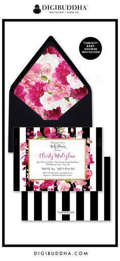 """Baby Shower Invitation, """"Christy"""" style with a gorgeous classic black and white stripe pattern overlaid with florals in lush shades of pink. Modern calligraphy, black envelope & floral envelope liner also available, at digibuddha.com"""