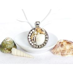 shell pendant, silver, rhinestone shell charm, mermaid pendant, ocean... ($24) ❤ liked on Polyvore featuring jewelry and pendants