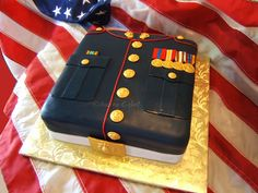 Perfect Groom's Cake! Marine Dress Uniform Cake by The Cake Chic, via Flickr