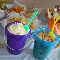 Photo: Beach party... Food in sand pails