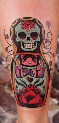 Skull matroshka tattoo