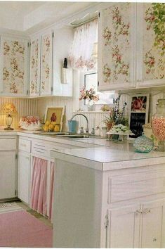 Pink and Green Kitchen