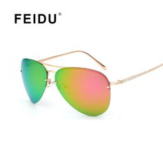 FEIDU 2016 Fashion Polarized Pilot Sunglasses Women Alloy Pattern Temples Brand Designer Sun glasses Women Gafas De Sol Feminino