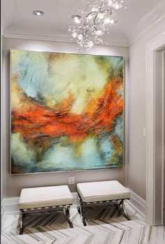 Red blue gray abstract print, red orange modern painting, abstract landscape, large print on canvas, modern unique elegant painting THIS IS A PRINT ON CANVAS OR PAPER, NOT AN ORIGINAL PAINTING AND IT COMES ROLLED ON A TUBE. YOU NEED TO FRAME IT BEFORE HANGING. Limited edition fine art