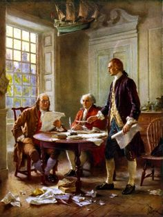 Digitally restored vector painting of Benjamin Franklin, John Adams, and Thomas Jefferson writing the Declaration of Independence. Poster Print (24 x 32)