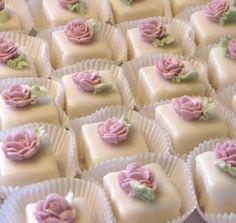 Petit fours http://www.peaceandloveinthekitchen.com/2011/09/pretty-little-cakes-petit-fours