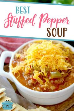 This easy Stuffed Pepper Soup has all the flavors of stuffed peppers but in a soup. Ground beef, peppers, rice, broth and seasonings! Best Soup Recipes, Mug Recipes, Beef Recipes For Dinner, Healthy Soup Recipes, Ground Beef Recipes, Fall Recipes, Cooking Recipes, Favorite Recipes, Simple Recipes