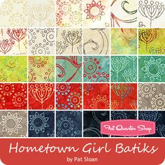 Batiks Hometown Girl Charm Pack Pat Sloan for Moda Fabrics - Charm Packs & Squares Fat Quarter Shop, Charm Pack, Quilt Kits, Fabulous Fabrics, Fancy, Charmed, Quilts, Sewing, Collection