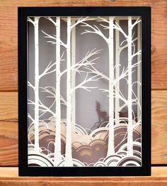 Forest Paper Cut Shadow Box, Bird Mafia, cut paper art, layers, colour, deer, forest, illustration, design