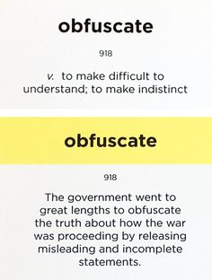 Word of the Day: OBFUSCATE