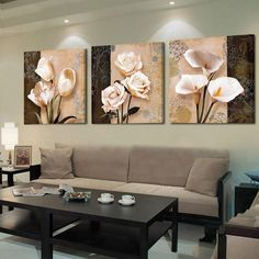 Buy Wall Art Home Decor Framework Canvas Pictures 3 Pieces Abstract Tulip Flowers Paintings For Living Room HD Prints Posters Wood Wall Art, Canvas Wall Art, Modern Wall Art, Canvas Prints, Canvas Paintings, Rooms Home Decor, Home Decor Wall Art, Room Decor, Wall Art Pictures