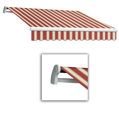 AWNTECH 20 ft. LX-Maui Left Motor with Remote Retractable Acrylic Awning (120 in. Projection) in Burgundy/White Multi, Red