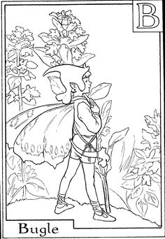 letter b for bugle flower fairy coloring page nature coloring pages alphabet coloring pages flower fairies coloring pages free online coloring pages and