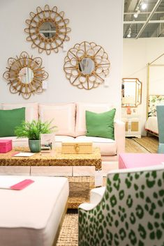 Collection We're Coveting: Society Social Fashion Showroom, Flower Mirror, Home Decor Sites, Tropical Home Decor, Antibes, Small Spaces, Home Furniture, Upholstery, Room Decor