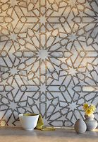 Castilla stone waterjet and handcut mosaic in Jura Grey honed and Calacatta Tia polished, The Miraflores Collection by Paul Schatz | New Ravenna