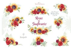Ad: Roses in Sunflowers Collection by WatercolorSeasons on This set of high quality Hand painted Graphics - Watercolor Roses in Sunflowers Collection - 9 bouquets, 33 Floral individual elements, 3 Flower Wreath Illustration, Rose Illustration, Graphic Illustration, Illustrations, Sunflowers And Roses, Red Flowers, Red Roses, Sunflower Png, Sunflower Bouquets