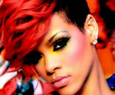 Makeup Trend - Neon Overdose Rihanna ft davit guetta who's that chick red hair hairstyle short hair make up