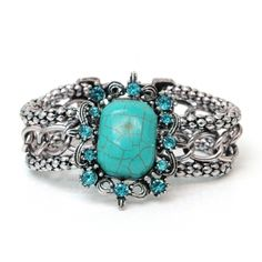 Metal Chain Bracelet with Turquoise Stone and Rhinestones