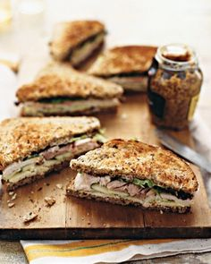 Turkey, Cheddar, and Green Apple Sandwich - Whole grain bread and whole grain mustard, plus crisp apple slices elevate this delicious turkey sandwich.