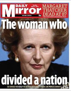 Front page on Margaret Thatcher