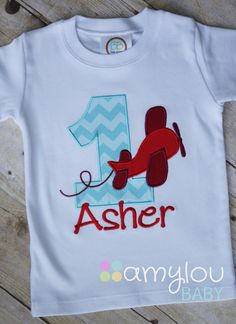 Airplane Birthday Toddler Tee Shirt Short or Long by amyloubaby