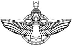Animation portrait of the ancient Egyptian winged goddess. The linear drawing isolated on a white background. Vector illustration, be used for coloring book.