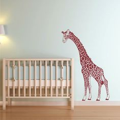 Giraffe Mother looking down Nursery Wall Decal - Cozy Home Wall Decals