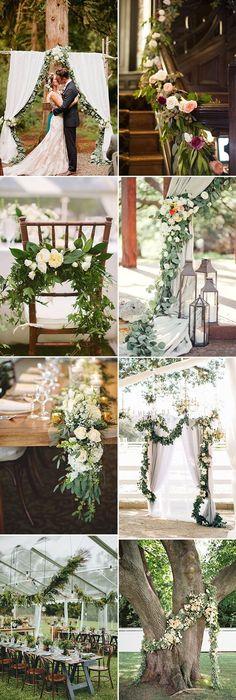 beautiful floral greenery garland wedding decoration ideas