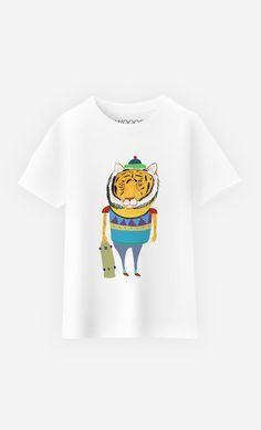 T-Shirt Enfant Tiger Skater par Ashley Percival - Wooop.fr