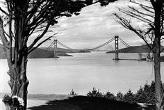 The Golden Gate bridge pictured during construction in May 1936. The build began in 1933 and took four years