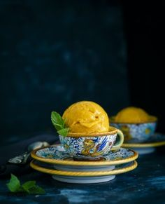 Mango Sorbet is a luscious seasonal Frozen Dessert.They make a great alternative to Ice creams and perfect for anyone with lactose intolerance.