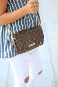 No to the teeny bopper pants, but yes to the striped shirt and purse combo.