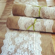 Burlap and lace table runners! @Megan Ward Ward Ward Ward Etheridge, this is real life.
