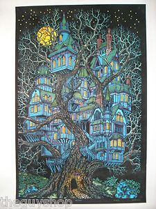 Vintage Velvet Tree House Blacklight Poster Western Graphics Treehouse Halloween | eBay