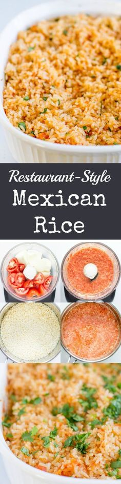 Recreate Restaurant-Style Mexican Rice at home in your oven. This fool-proof method starts with fresh vegetables and ends with fluffy grains every time. (Potato Recipes In Oven) Mexican Dishes, Mexican Food Recipes, Vegetarian Recipes, Cooking Recipes, Mexican Desserts, Mexican Fried Rice, Cooking Tips, Mexican Chicken And Rice, Mexican Zucchini