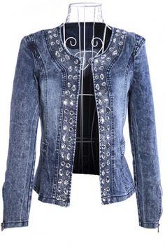 Spring Autumn Denim Jackets Vintage Diamonds Casual Coat Women's Denim Jacket For Outerwear Jeans - Mosnicnac Denim Fashion, Look Fashion, Retro Fashion, Fashion Women, Fashion Coat, Female Fashion, Spring Fashion, Fashion Online, Vintage Fashion