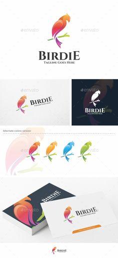 Birdie / Bird Logo Design Template - Animals Logo Template Vector EPS, AI Illustrator. Download here: https://graphicriver.net/item/birdie-bird-logo-template/19009688?ref=yinkira