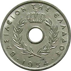 GRECIA  / 1954  -  20 LEPTA Coins, Paper, Silver, Gold, Old Coins, Hanging Medals, Coining, Greece, Index Cards