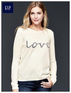 Intarsia word pullover