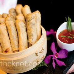 20 Scrumptious Wedding Food Ideas Chinese Spring Rolls & Dipping Sauce – The Knot food meals Rockwell Catering and Events Wedding Buffet Food, Wedding Reception Food, Wedding Catering, Wedding Snacks, Wedding Appetizers, Wedding Menu, Reception Ideas, Vegetable Spring Rolls, Chicken Spring Rolls