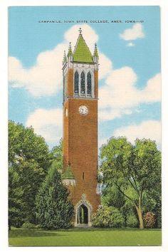 Campanile-Iowa State College-Ames Iowa Vintage Postcard on Etsy, $5.00