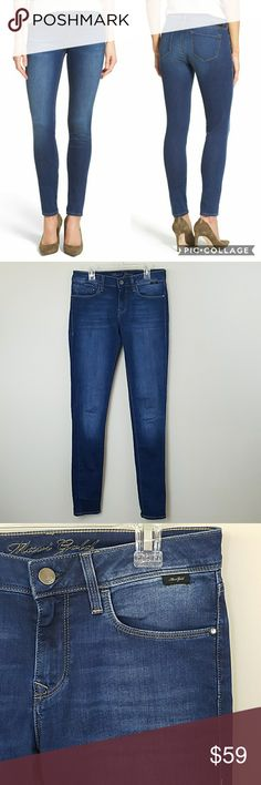 """Mavi Gold Collection Adriana Mid Rise Skinny Jeans Mavi Gold Collection Adriana Mid Rise Super Skinny Jeans.  Size 26 x 32.  Lots of stretch and whiskering detail.  Excellent condition!   14"""" across the waist.  8"""" rise.  32"""" inseam. 70% cotton,  14% polyester,  14% viscose, 2% elastane. Mavi Jeans Skinny"""