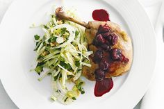 Five-Spice Duck Confit Spring Rolls with Soy-Sour Cherry Compote