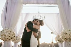 beautiful #chuppah with chandelier #mazeltvo #jewishwedding  http://www.themodernjewishwedding.com/malibu-modern-jewish-wedding-from-luxury-estate-weddings-and-events/