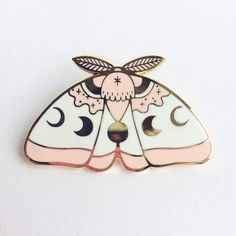 Pink MoonMoth hard enamel lapel pin